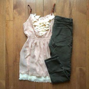 Lauren Conrad olive jeans 6 skinny